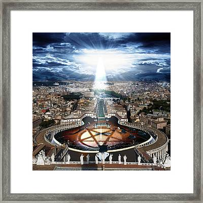 Digital Manipulation Framed Print featuring the digital art Vatican Rocking View by Marian Voicu