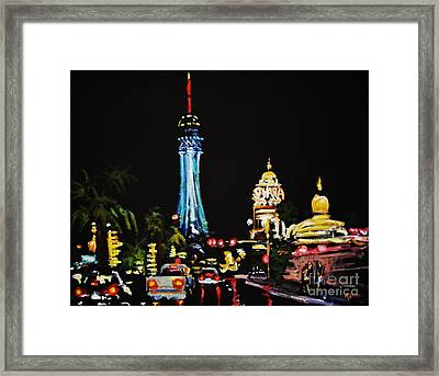 Vegas At Night Framed Print by John Malone