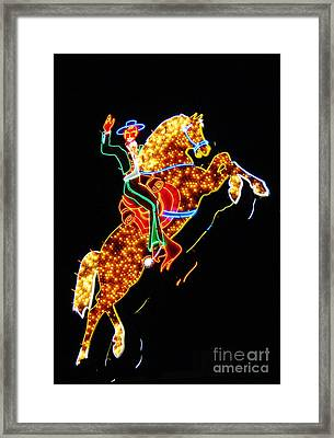 Vegas Cowboy Sign Framed Print by John Malone