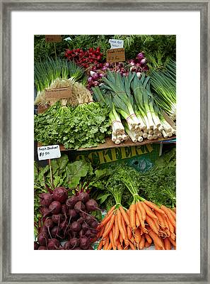 Vegetable Stall, Saturday Market Framed Print by David Wall