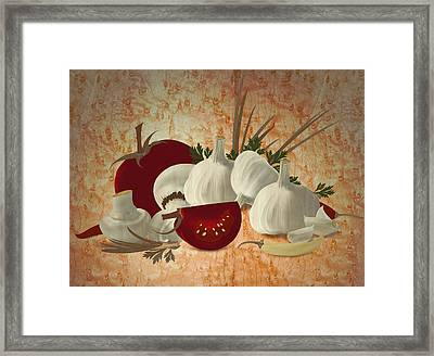Vegetable Still Life Marquetry Framed Print by Zsolt Sesztak