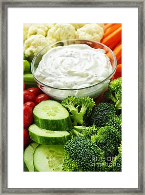 Vegetables And Dip Framed Print by Elena Elisseeva