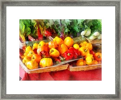 Vegetables - Peppers At Farmers Market Framed Print by Susan Savad
