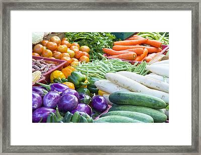 Vegetables Stand In Wet Market Framed Print by JPLDesigns