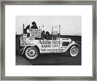 Velie Six Radio Car Framed Print by Underwood & Underwood