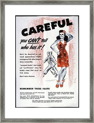 Venereal Disease Poster, 1940's Framed Print by Library & Archives Canada