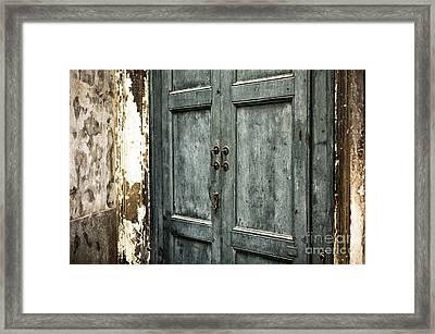 Venetian Green Door Framed Print by John Rizzuto