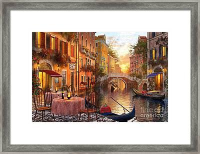 Venetian Sunset Framed Print by Dominic Davison
