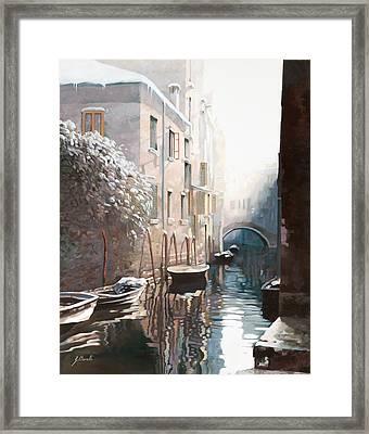 Venezia Sotto La Neve Framed Print by Guido Borelli