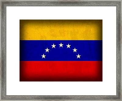 Venezuela Flag Distressed Vintage Finish Framed Print by Design Turnpike