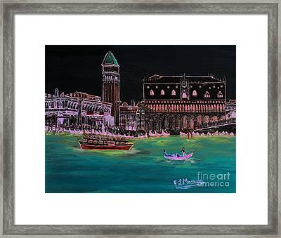 Venice At Night Framed Print by Loredana Messina