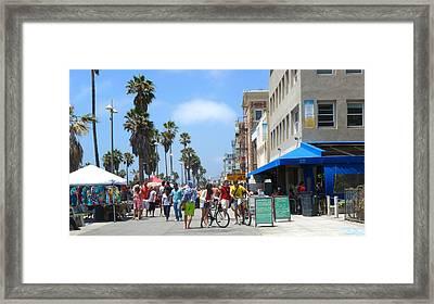 Venice Beach Boardwalk Framed Print by Nancy Merkle
