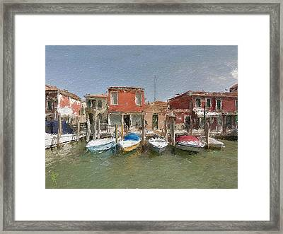 Venice Boats Framed Print by Russell Pierce