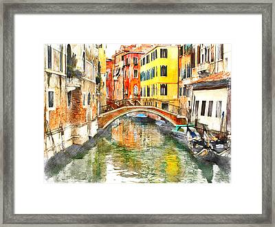 Venice Bridge And Canal Framed Print by Yury Malkov