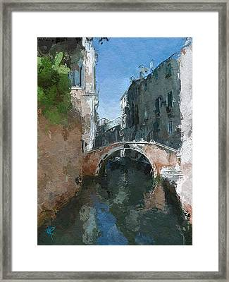 Venice Bridge Two Framed Print by Russell Pierce