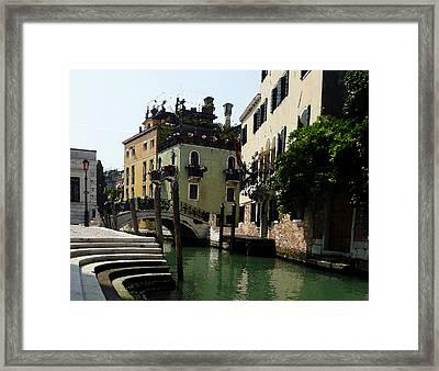 Venice Canal Summer In Italy Framed Print by Irina Sztukowski