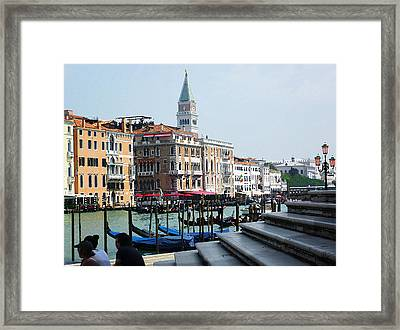 Venice Gondolas On Canal Grande Framed Print by Irina Sztukowski