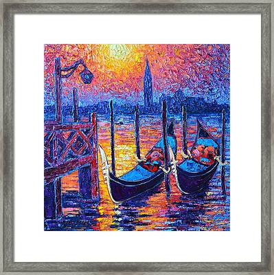 Venice Mysterious Light - Gondolas And San Giorgio Maggiore Seen From Plaza San Marco Framed Print by Ana Maria Edulescu