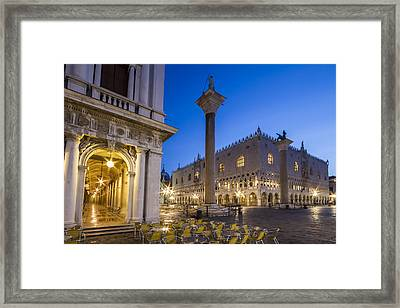 Venice St Mark's Square And Doge's Palace In The Morning Framed Print by Melanie Viola