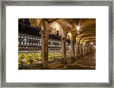 Venice St Mark's Square At Night Framed Print by Melanie Viola