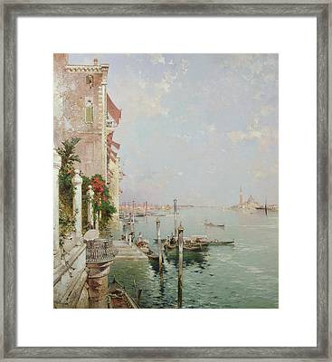 Venice View From The Zattere With San Giorgio Maggiore In The Distance Framed Print by Franz Richard Unterberger