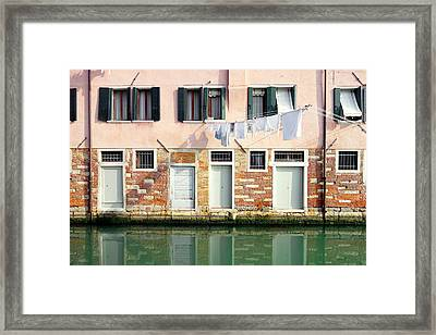 Venitian Building Facade Framed Print by Valentino Visentini