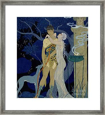 Venus And Adonis  Framed Print by Georges Barbier