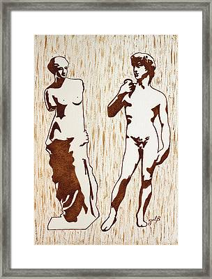 Venus De Milo And David Statues Original Dark Beer Painting Framed Print by Georgeta Blanaru