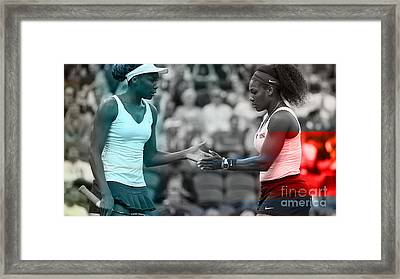Venus Williams And Serena Williams Framed Print by Marvin Blaine