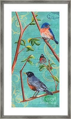 Verdigris Songbirds 1 Framed Print by Debbie DeWitt