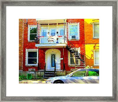 Verdun City Street Triplex Apartment Outdoor Winding Stairs Montreal Scenes Primary Colors C Spandau Framed Print by Carole Spandau