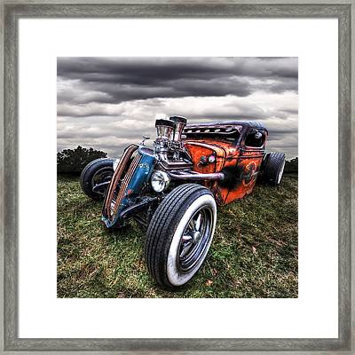 Vermin's Diner Rat Rod Front Framed Print by Gill Billington