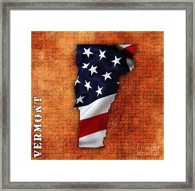 Vermont American Flag State Map Framed Print by Marvin Blaine