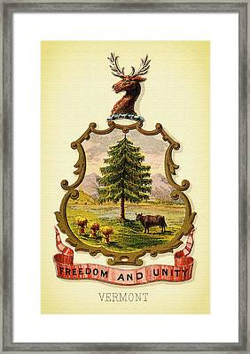 Vermont Coat Of Arms - 1876 Framed Print by Mountain Dreams