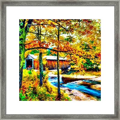 Vermont Covered Bridge Framed Print by Bob and Nadine Johnston