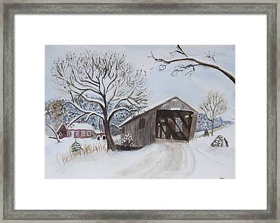 Vermont Covered Bridge In Winter Framed Print by Donna Walsh