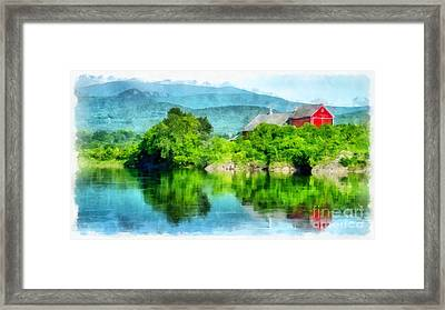 Vermont Farm Along The Connecticut River Framed Print by Edward Fielding