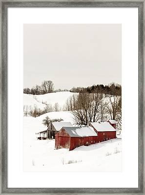 Vermont Farm Scene In Winter Framed Print by Edward Fielding
