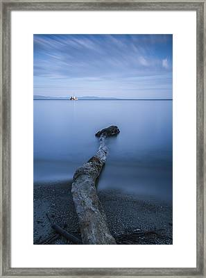 Vermont Lake Champlain Driftwood Sunrise Framed Print by Andy Gimino