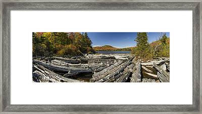 Vermont Kettle Pond Panorama Autumn Forest Framed Print by Andy Gimino
