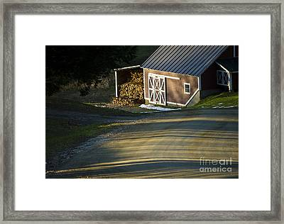 Vermont Maple Sugar Shack Sunset Framed Print by Edward Fielding