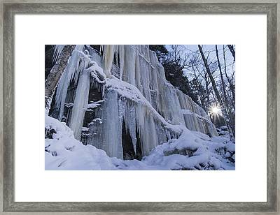Vermont Mount Mansfield Winter Ice Snow Sunrise Framed Print by Andy Gimino