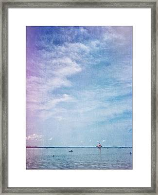 Vermont Summer Beach Boats Clouds Framed Print by Andy Gimino