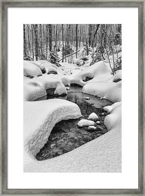 Vermont Winter Landscape Brook Forest Snow Framed Print by Andy Gimino