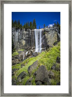 Vernal Falls In July At Yosemite Framed Print by Mike Lee