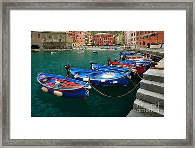 Vernazza Boats Framed Print by Inge Johnsson