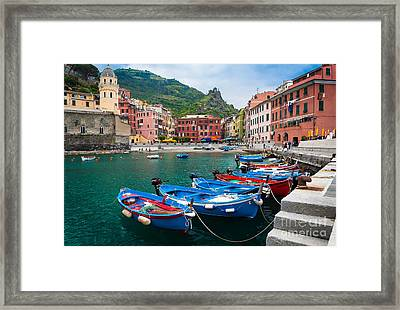 Vernazza Harbor Framed Print by Inge Johnsson