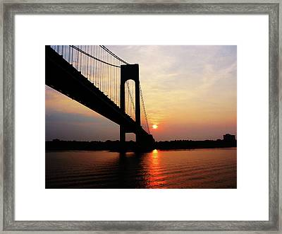 Verrazano Bridge At Dawn Framed Print by Susan Savad