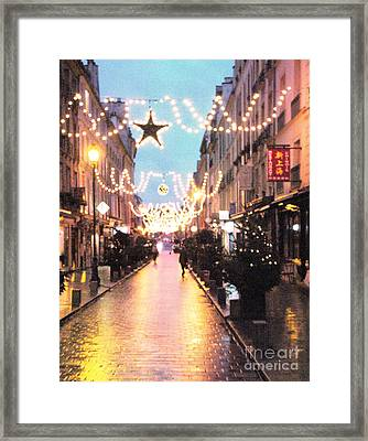 Versailles France Romantic Rainy Night Street Scene At Christmas Framed Print by Kathy Fornal