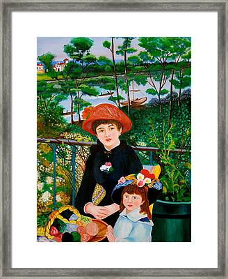 Version Of Renoir's Two Sisters On The Terrace Framed Print by Cyril Maza